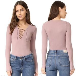 Free People Intimately Rose Lace Up Layering Top